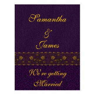 Casamento roxo rico cartão postal