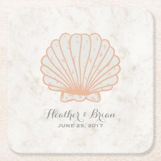 Casamento rústico alaranjado do Seashell Porta-copo De Papel Quadrado