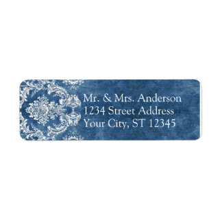 Casamento rústico azul da cor damasco da safira etiqueta endereço de retorno