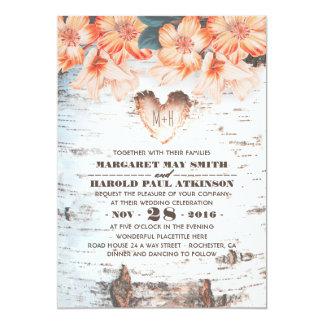 Casamento rústico cinzelado do país do coração do convite 12.7 x 17.78cm