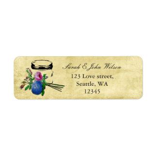 casamento rústico do frasco de pedreiro, etiqueta etiqueta endereço de retorno