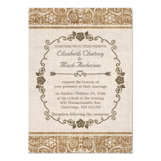 Casamento rústico do laço de serapilheira convite 12.7 x 17.78cm