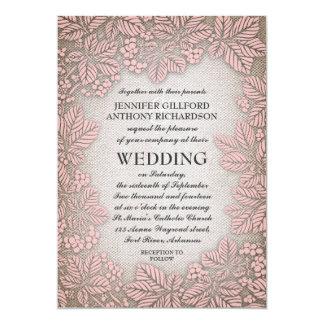 Casamento rústico do vintage de serapilheira e de convite 12.7 x 17.78cm