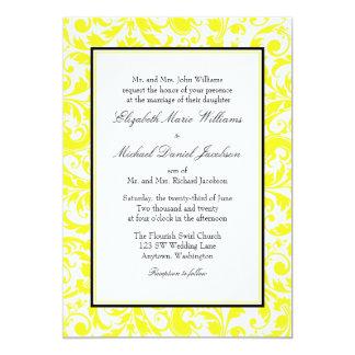Casamento tema damasco amarelo e preto do convite 12.7 x 17.78cm