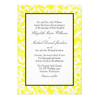 Casamento tema damasco amarelo e preto do redemoin