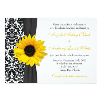 Casamento tema damasco branco preto amarelo do convite 12.7 x 17.78cm