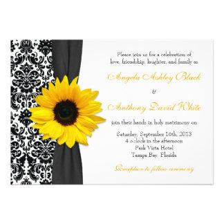 Casamento tema damasco branco preto amarelo do gir convite