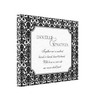 Casamento tema damasco branco preto arte personali impressão em tela