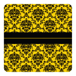Casamento tema damasco elegante do amarelo amarelo convite quadrado 13.35 x 13.35cm