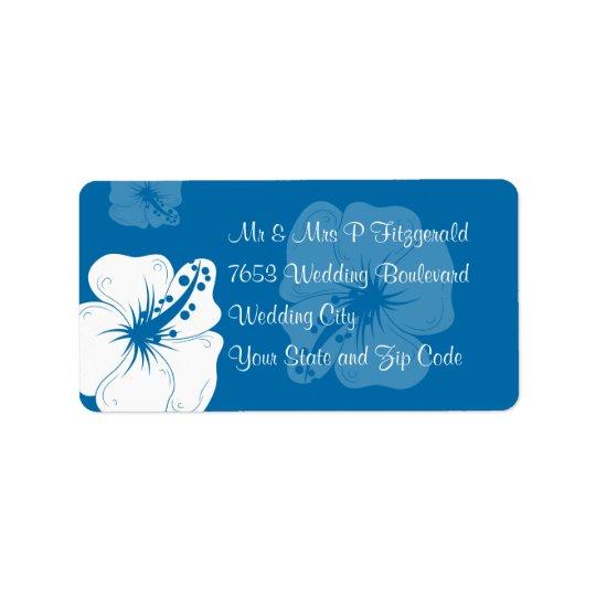 Casamento tropical do hibiscus do azul Cerulean e Etiqueta De Endereço