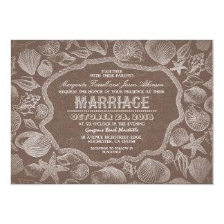 casamento velho da praia marrom dos seashells do convite 12.7 x 17.78cm
