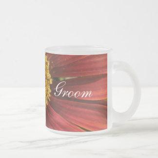 Casamento vermelho rústico caneca de café vidro jateado