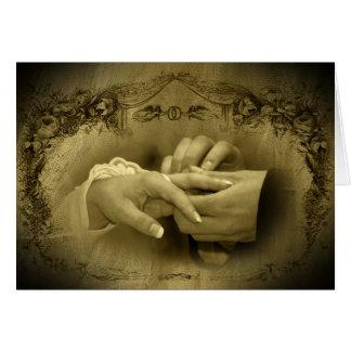 Casamento vintage… Com este anel mim thee quarta-f Cartoes