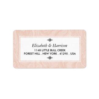 Casamento vintage elegante marmoreado do rosa etiqueta de endereço