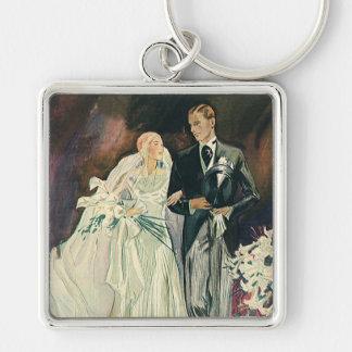 Casamento vintage, noiva e Goom, Newlyweds Chaveiros