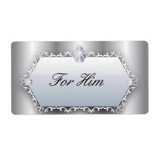 Casamento vintage para ele romântico de prata da etiqueta de frete