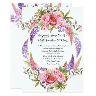 Casamentos roxos cor-de-rosa da aguarela das convite 12.7 x 17.78cm
