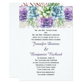 Casamentos roxos dos Succulents da aguarela do Convite 12.7 X 17.78cm