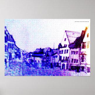 casas alemãs históricas roxas do centro de cidade pôster