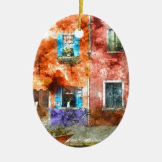 Casas coloridas na ilha de Burano, Veneza Ornamento De Cerâmica Oval