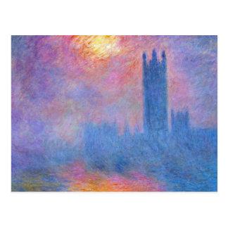 Casas do parlamento, Londres, Sun que quebra Cartão Postal