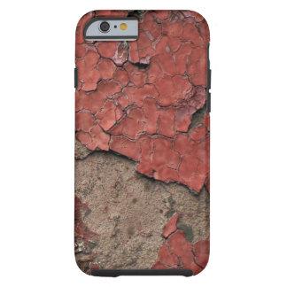 Casca suja pintura vermelha lascada contra o capa tough para iPhone 6