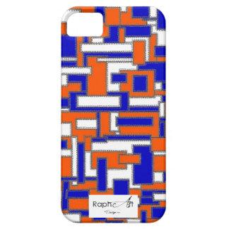 Casco Iphone5 Tecido de Couro Azul & Cor de laranj Capa iPhone 5 Case-Mate