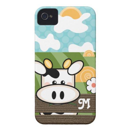 Case mate corajosa de Blackberry da vaca bonito iPhone 4 Capas