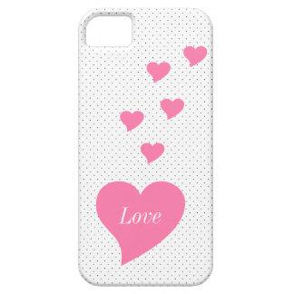 Caso cor-de-rosa de IPhone 5 dos corações Capa Barely There Para iPhone 5