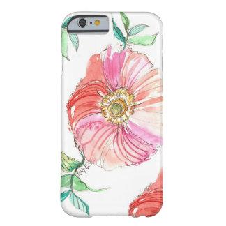 Caso coral do iPhone 6 da aguarela da papoila Capa iPhone 6 Barely There