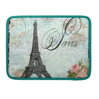 Caso de Macbook da torre Eiffel & dos rosas cor-de Bolsas Para MacBook Pro