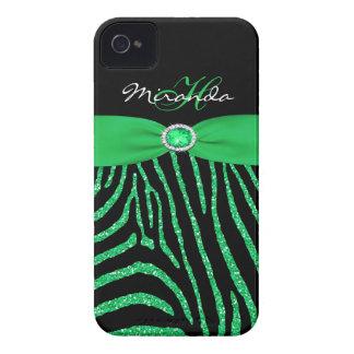 Caso do iPhone 4/4S da zebra do brilho do verde do Capinhas iPhone 4
