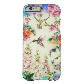 Caso do iPhone 6 dos colibris e das flores do rosa Capa Barely There Para iPhone 6