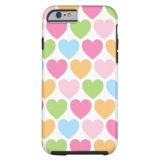 Caso feminino do iPhone 6 dos corações bonitos dos Capa Tough Para iPhone 6