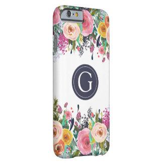 Caso floral pintado de Iphone 6 do monograma Capa Barely There Para iPhone 6