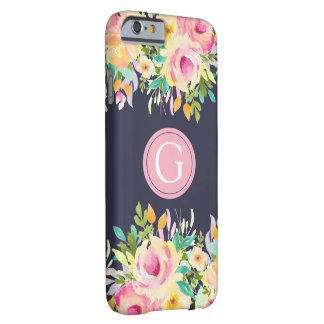 Caso floral pintado de Iphone 6 do monograma da Capa Barely There Para iPhone 6