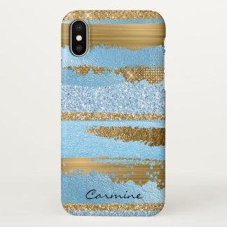 Caso Glam do iPhone X do azul e do ouro Capa Para iPhone X