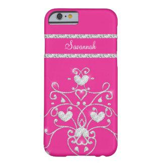 Caso Sparkly cor-de-rosa do iPhone 6 dos corações Capa iPhone 6 Barely There