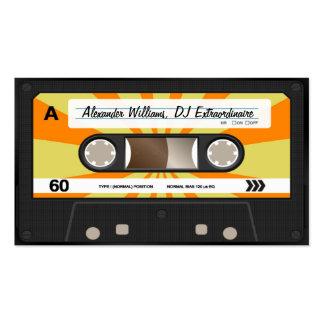 Cassete de banda magnética alaranjada/amarela modelo cartões de visita