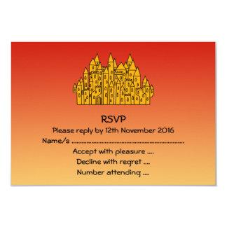 Castelo alaranjado convite 8.89 x 12.7cm