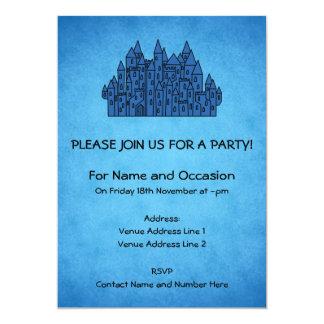 Castelo azul convite 12.7 x 17.78cm