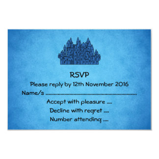 Castelo azul convite 8.89 x 12.7cm