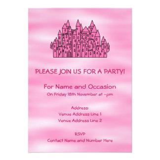 Castelo cor-de-rosa do conto de fadas convite personalizado