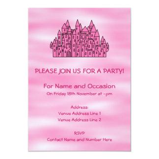 Castelo cor-de-rosa do conto de fadas convite 12.7 x 17.78cm