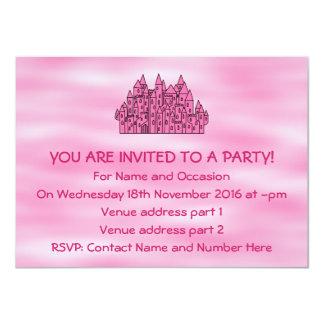 Castelo cor-de-rosa do conto de fadas convite 11.30 x 15.87cm