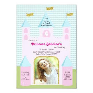 Castelo da festa de aniversário da princesa Foto Convite 12.7 X 17.78cm