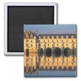 Castelo de Chenonceau, rio Cher, Loir-et-Cher, Ímã Quadrado