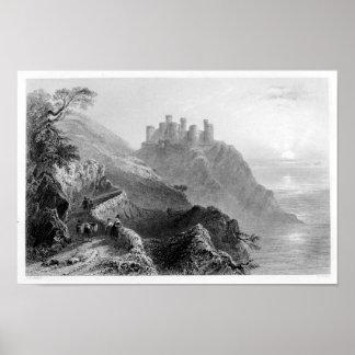 Castelo de Harlech - poster da arte do vintage