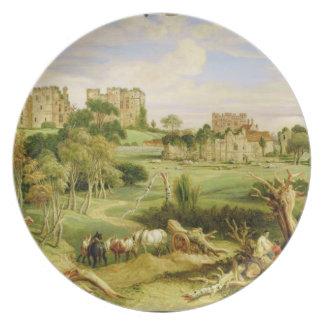 Castelo de Kenilworth, Warwickshire, 1840 (óleo na Louças De Jantar