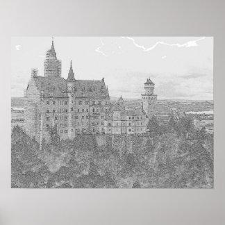 Castelo de Neuschwanstein no lápis Pôster